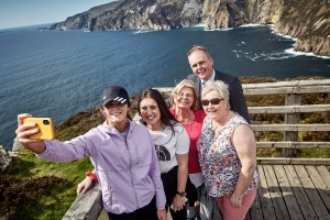 Pictured at the official opening of the new €5m Sliabh Liag Development in Co. Donegal on Monday is Minister Joe McHugh T.D. with tourists Rachel McGoldrick, Sligo, Sophie Bannigan, Sligo, Elizabeth Sterritt, Toronto and Sandra Campbell, Omagh