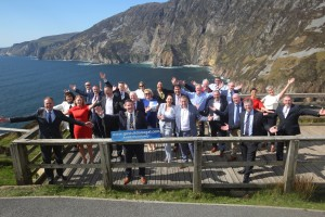 Celebrating the official opening of the new €5m Sliabh Liag Development in Co. Donegal on Monday is Minister Joe McHugh T.D and Cathaoirleach Cllr. Seamus O Domhnaill with invited guests.